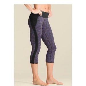 Athleta Yoga black and purple cropped legg…
